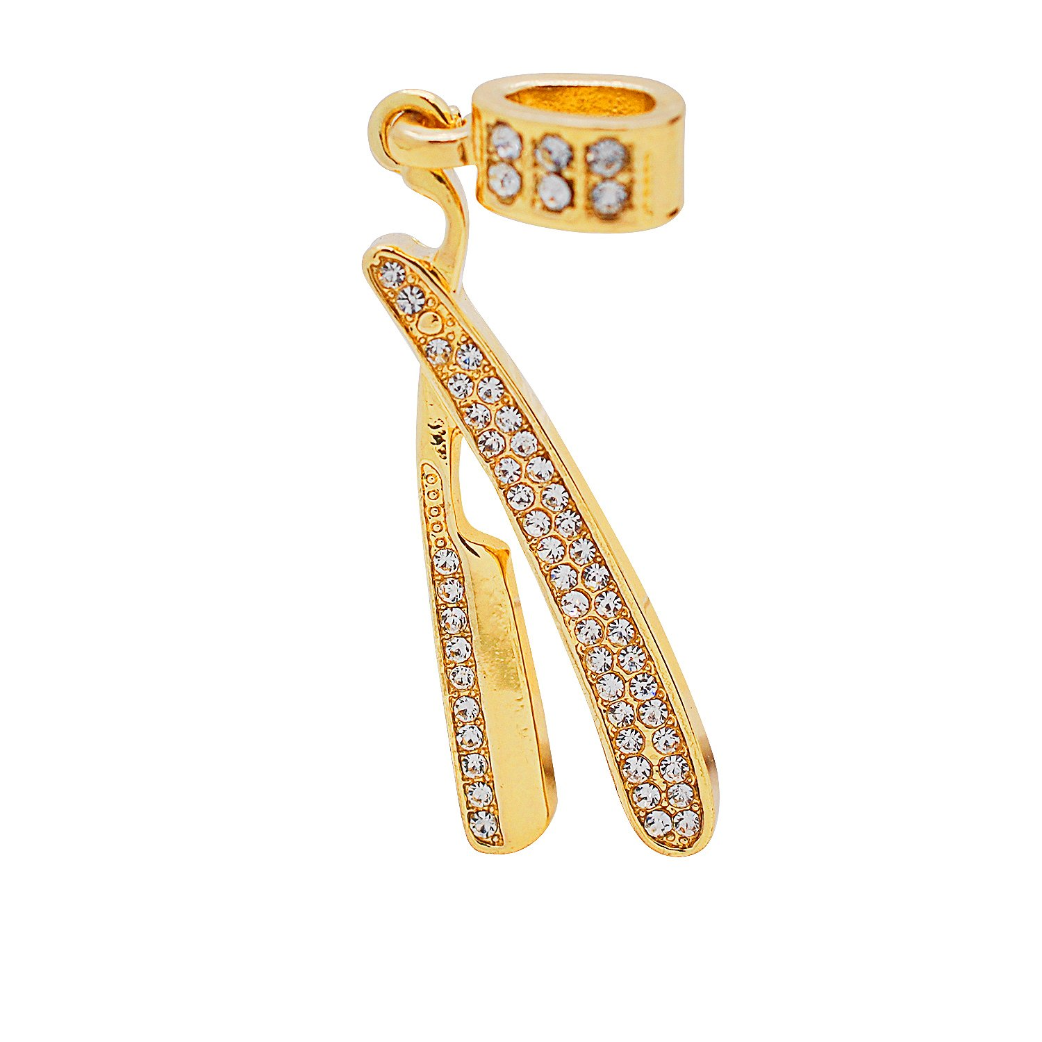 Yellow Gold-Tone Hip Hop Bling Simulated Crystal Straight Razor Blade Pendant with 24 Tennis Chain and 24 Rope Chain