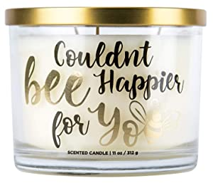 "Aromascape ""Couldn't Bee Happier for You"" 3-Wick Scented Candle (Honey, Vanilla and Almond Milk), 11-Ounce"