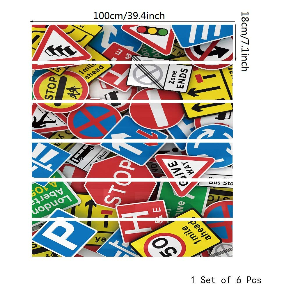 Magiin 6pcs Pegatinas Adhesivos Autoadhesivos para Escaleras Cocina Piso Ba/ño Simulaci/ón Decoraci/ón de Pared Hogar Impermeable Extra/íble Etiqueta de Pared 18x100cm Azulejos de Colores