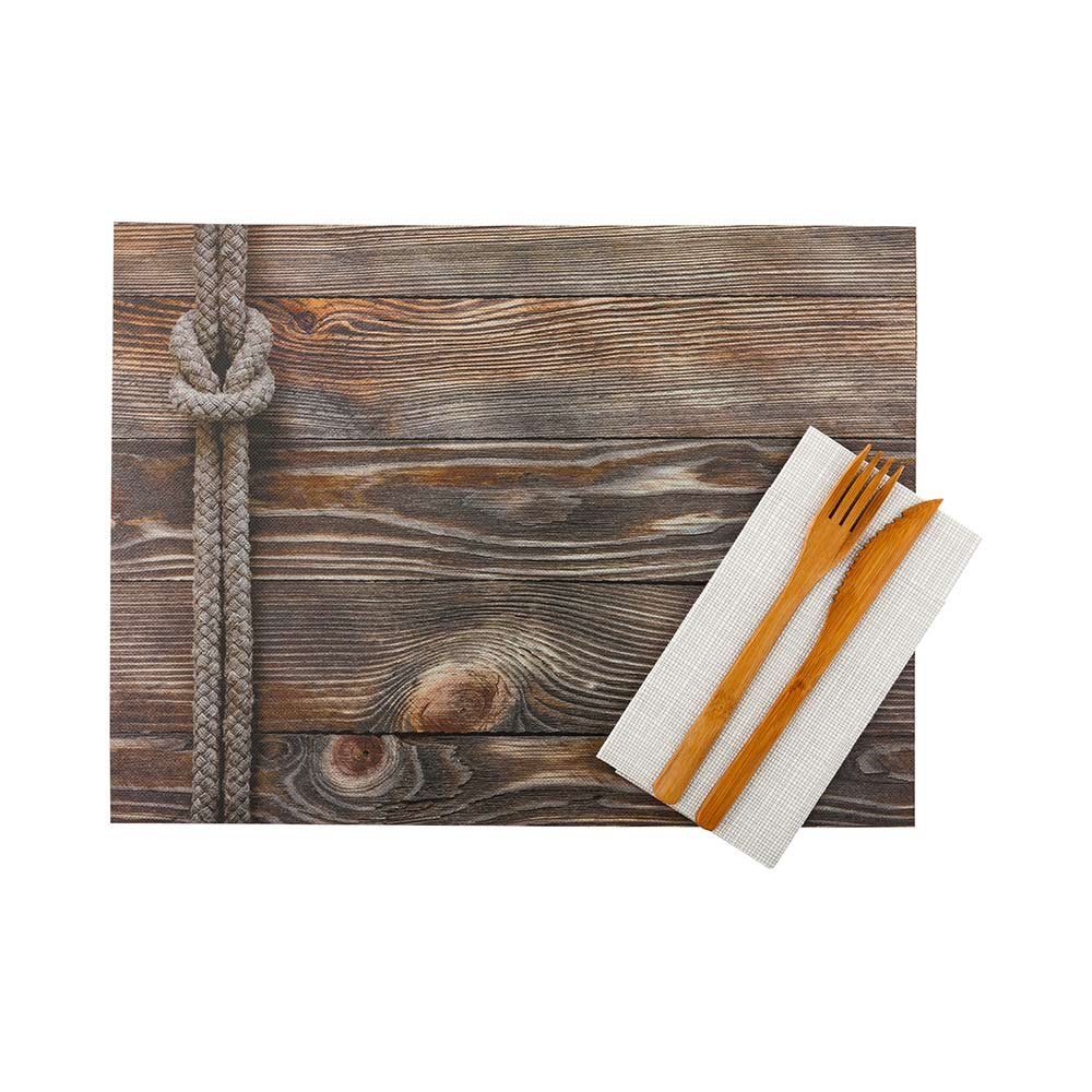 Paper Placemats - Rustic Wood Print - 12'' x 16'' - Semi Disposable - Reusable Up To 10 Times - 12ct box - Restaurantware