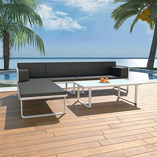 Tidyard Conjunto Muebles de Jardín de Ratán 13 Piezas con Mesa y Cojines,Sofas Exterior para Jardín Terraza Patio,Textilene y Aluminio,Negro y Blanco: Amazon.es: Hogar