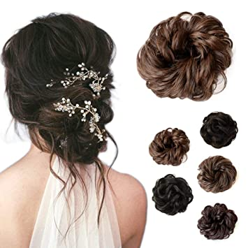 Beauty Angelbella Curly Scrunchies Hairpiece Messy Bun Hair Pieces Updo Chignon Wig Short Synthetic Ponytail Extension For Women With Elastic Drawstring Fake Wavy Donut Clip In Hair Accessories Brown Amazon In Beauty