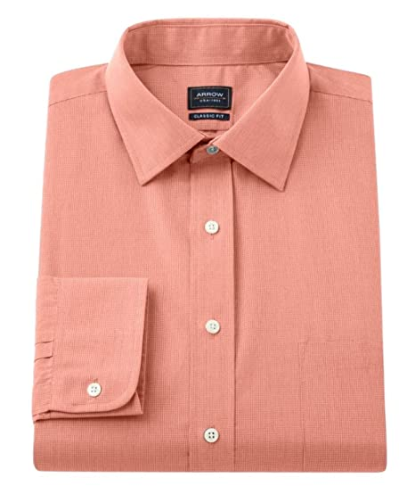 38e68ae448b838 Arrow Mens Classic Fit Spread-Collar Micro Check Dress Shirt Goldfish  Orange (15 1