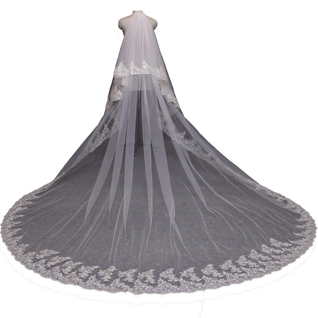 MERMAIDFUN Long 2 Layers Sequins Lace Wedding Veil White Ivory Tulle Bridal Veil