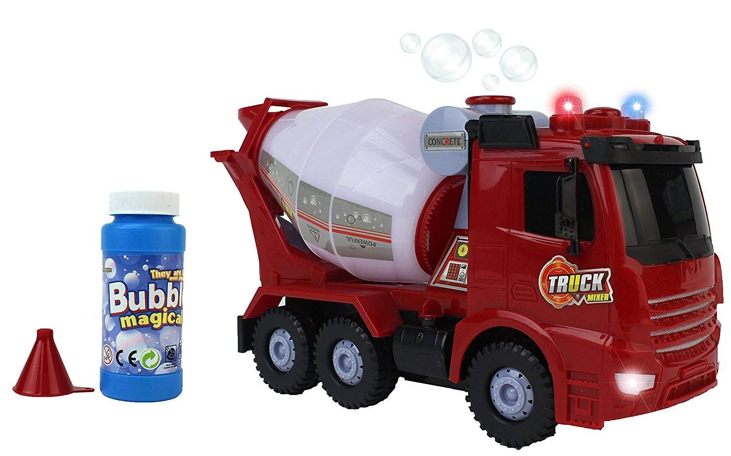 AJ Toys & Games Happy Bubbles Bump & Go Bubble Blowing Battery Operated Toy Cement Mixer Truck w/ Lights, Sounds, Funnel, & Bubbles