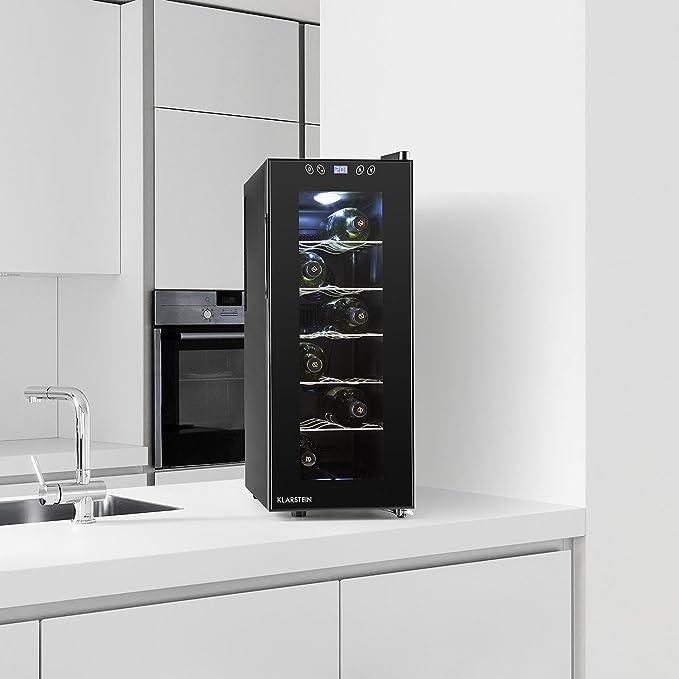 Klarstein Vinamora - Nevera para vinos , Nevera para Bebidas , Refrigerador gastronomía , 35 L , 12 Botellas , 5 Baldas de Acero Inoxidable , ...