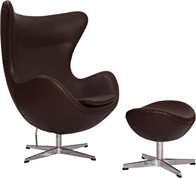 MLFu0026reg; Arne Jacobsen Egg Chair U0026 Ottoman In Top Dark Brown/Tan Aniline  Leather