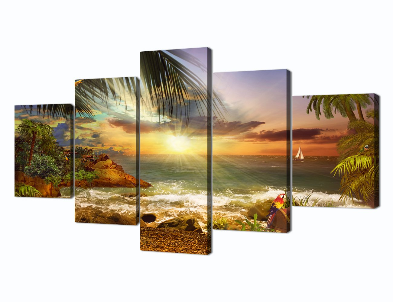 Scene of Sea Waves Palm Tree Landscape Picture Modern Painting on Canvas 5 Piece Framed Wall Art for Living Room Bedroom Kitchen Home Decor Stretched Gallery Canvas Wrap Giclee Print (60''W x 32''H)