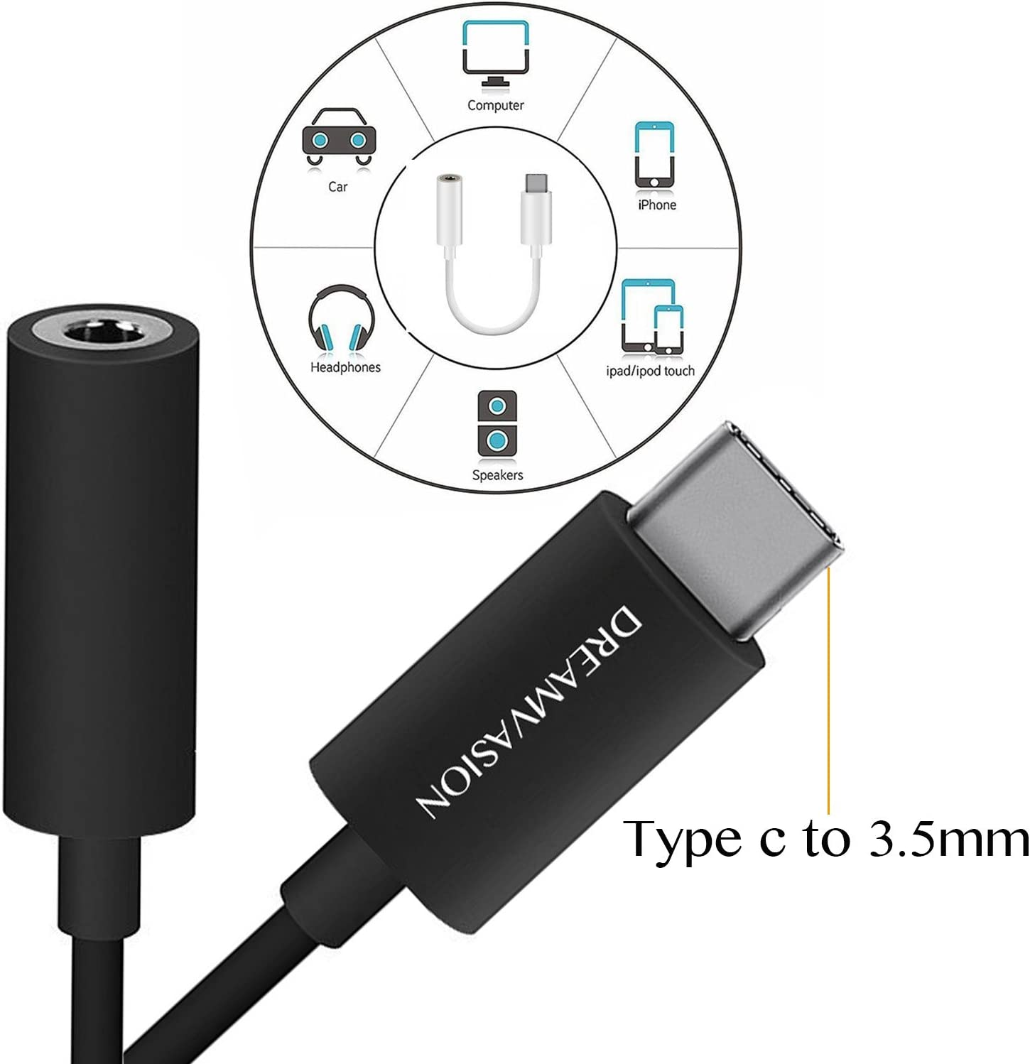 Moto Z Type C to 3.5mm Headphone Audio Jack Adapter Letv Le Pro 3 Samsung Galaxy S8 and More Dreamcasion USB C 3.1 Male to 3.5mm Female Extension Aux Cable Connector for Motorola Moto Z 2 Pack