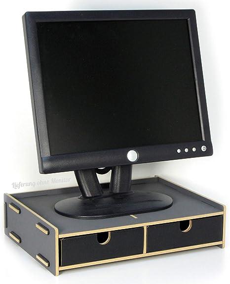Monitor Sockel Dunkelgrau Bildschirmständer Mit 2 Schubladen Notebooktisch Monitorständer Schreibtischaufsatz Bildschirmerhöhung Preis Am Stiel Bürobedarf Schreibwaren