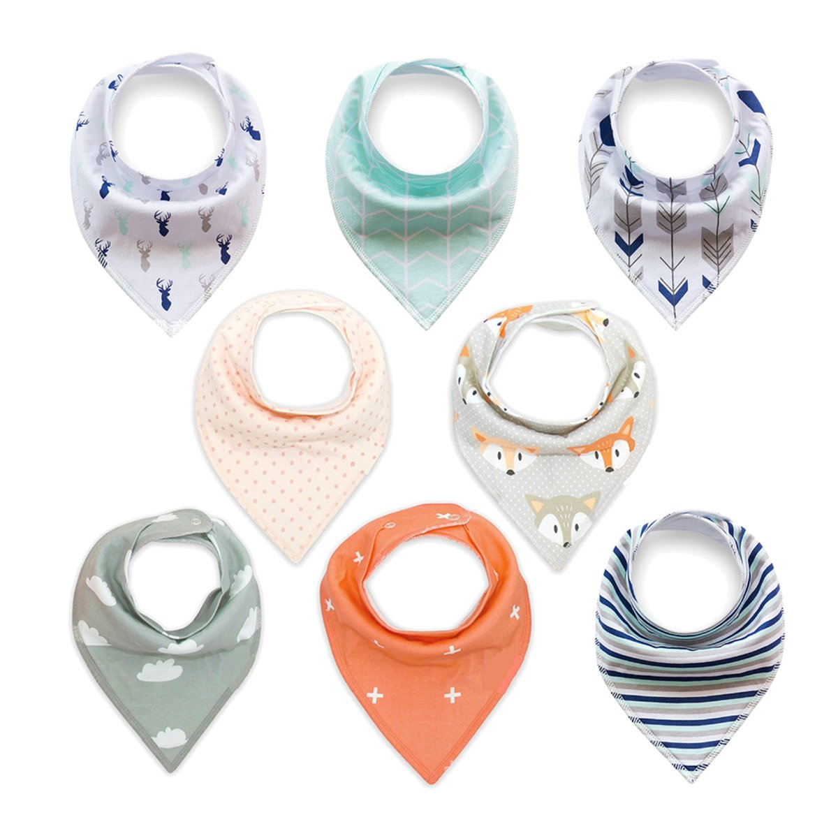 Baby Bandana Drool Bibs, Organic Absorbent Cotton Bibs for Drooling and Teething Feeding Gift Set for Boys Girls Baby Shower Gift Burp Cloth 8-Pack