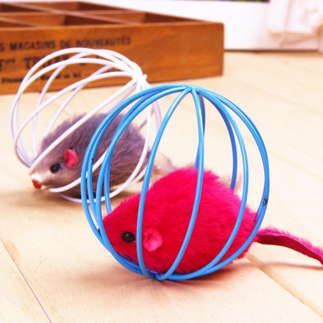 Jouets pour Pet Chat - Rat Drôle dans une Cage Souris Ball Jouet Polaire Drôle TaoNaisi