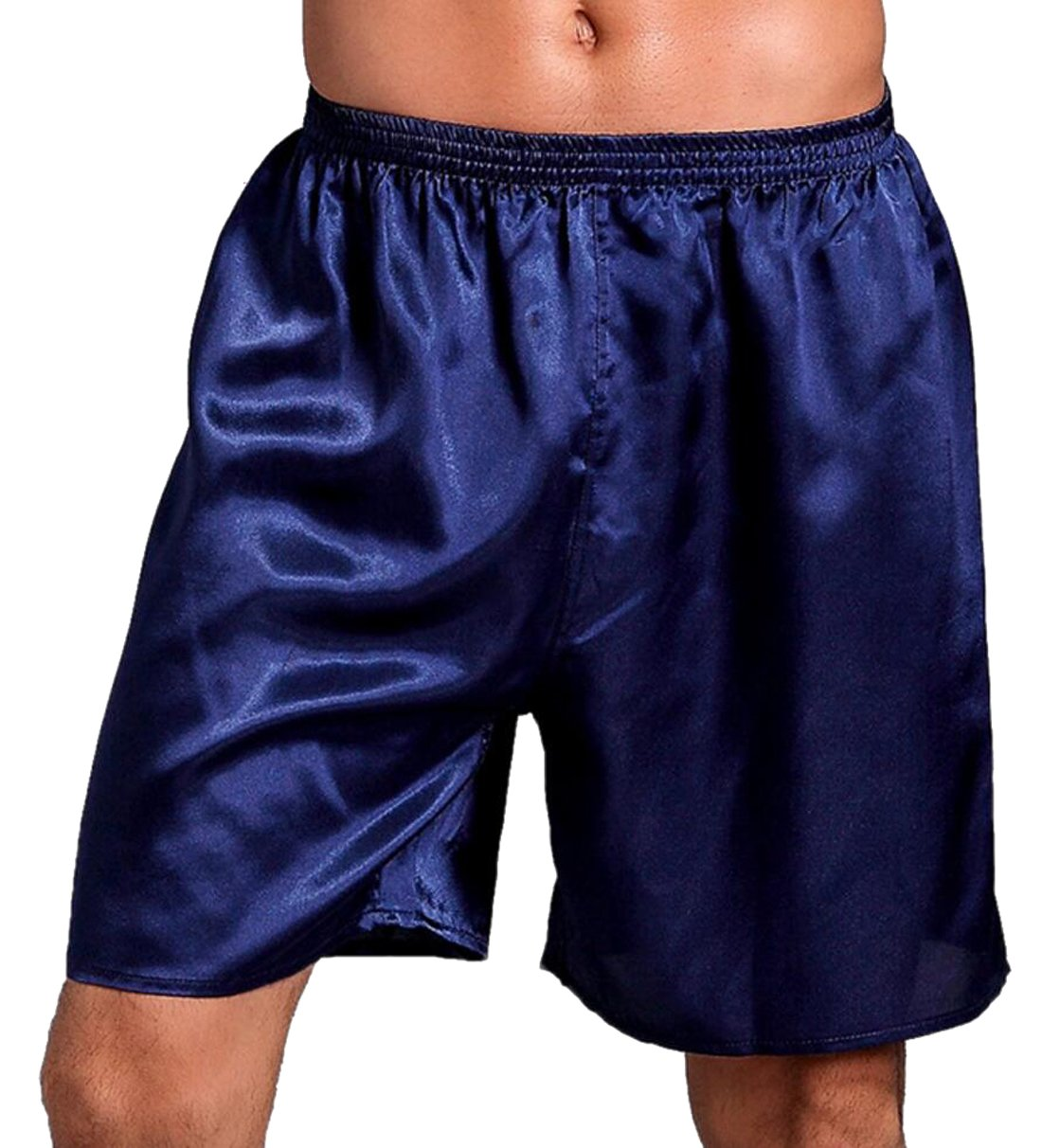 SYTX Mens Comfy Solid Color Silk Satin Boxer Shorts Lounge Shorts Pajama Bottom Blue 2XL