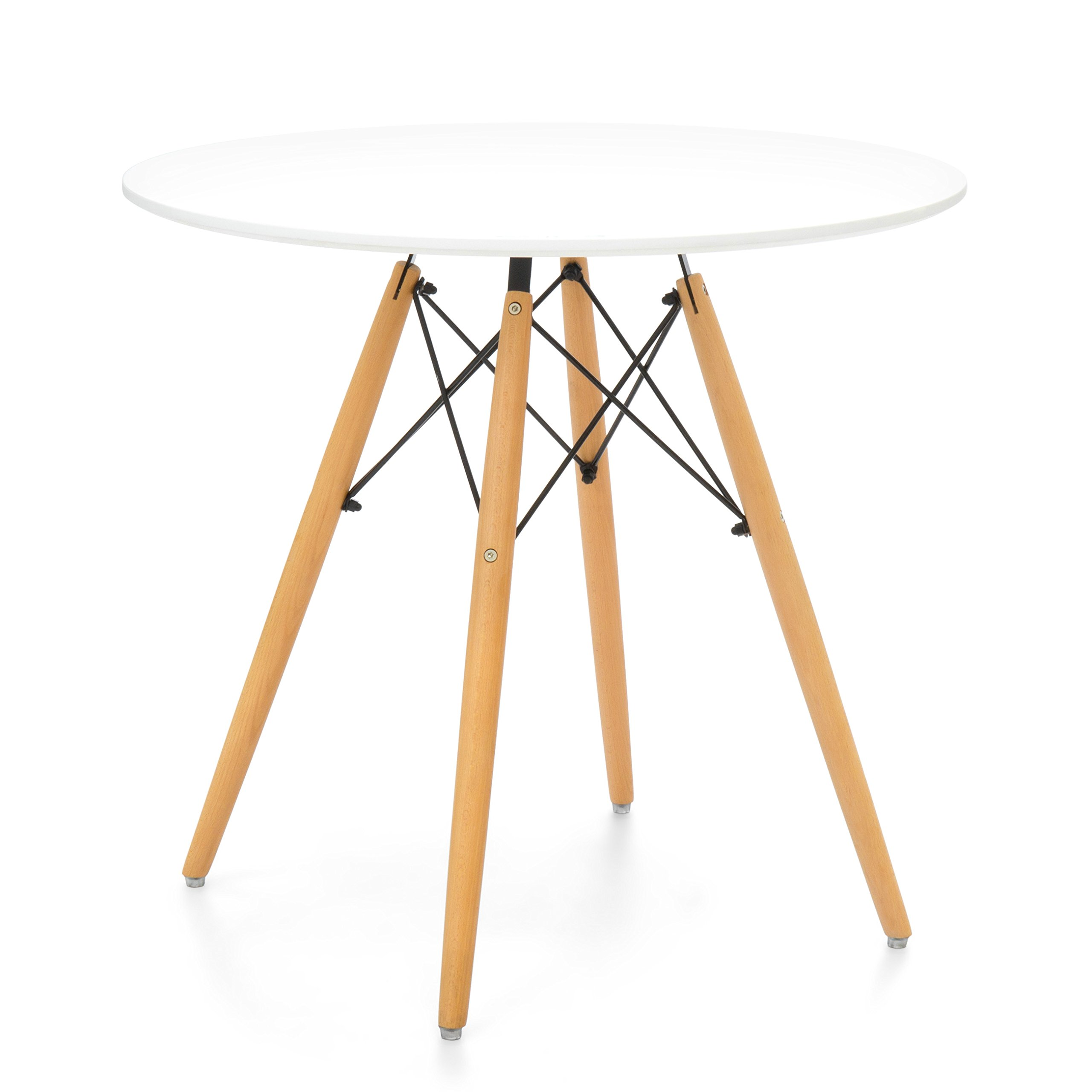 Best Choice Products Mid Century Modern Eames Style Round Dining Table w/Wood Legs and White Tabletop