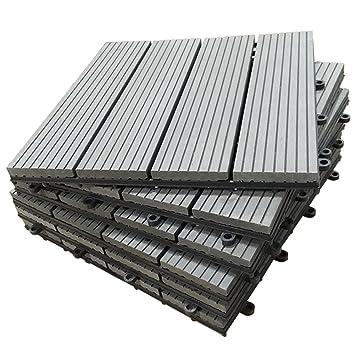 SORARA Interlocking Flooring Decking Tiles Patio Outdoor Wood Plastic  Composite Tile, 12u0026quot; X