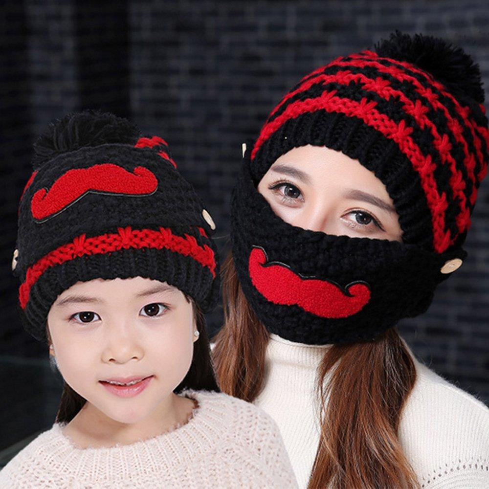 2 PCS moda madre-hijo madre hija de tejer lana piel Pom Pom Ball ...