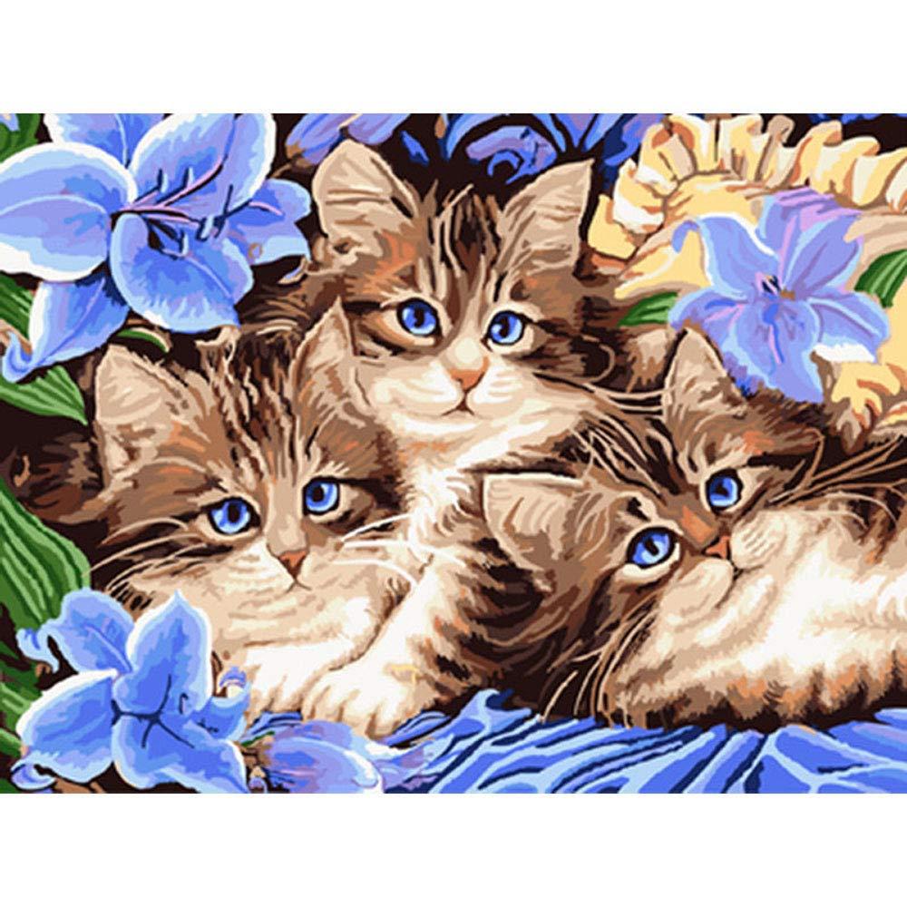 Gato Familia Animales DIY Pintura por Números Kit Imagen De Arte ...