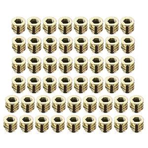 uxcell 50pcs M4x8mm Threaded Insert Nuts Zinc Alloy Hex Socket M4 Internal Threads 8mm Length