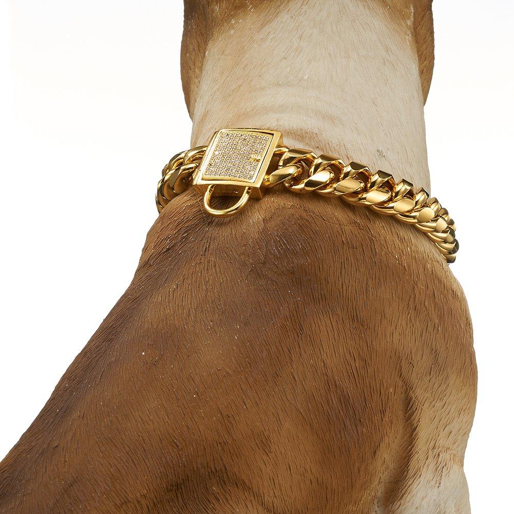 Abaxaca Designer Dog Collar Gold Metal Stainless Steel with Zirconia Lock 14mm 18K Gold Big Dog Luxury Training Collar Cuban Lock Link Necklace Chain (20 inch)