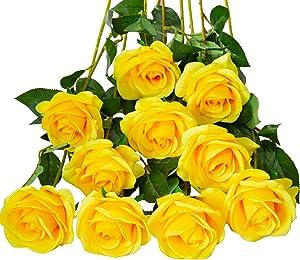 DuHouse 10pcs Fake Roses Artificial Silk Flowers Faux Rose Flower Long Stems Bouquet for Arrangement Wedding Centerpiece Party Home Kitchen Decor(Pure Yellow)