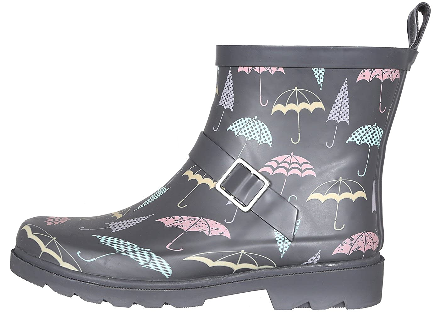 Grey Lined Umbrellas Capelli New York Ladies Shiny Umbrella Day Printed Short Sporty Lined Rainboot