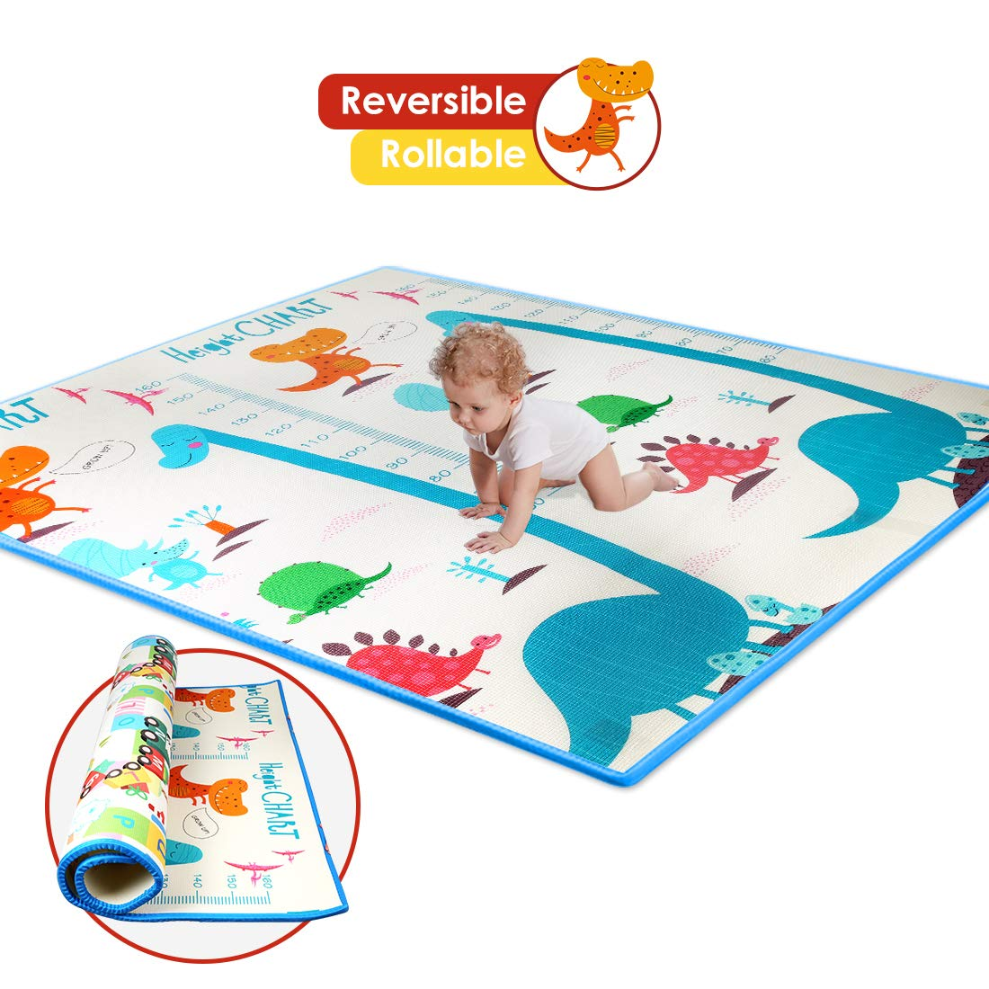 Thick Baby Play Mat, One-Piece Reversible Kids Play Mat XPE Foam, Large Play Mat for Kids Playing or Crawling, Waterproof Nontoxic Foam Playmat for Infants Baby Toddler Large, Dinosaur Train