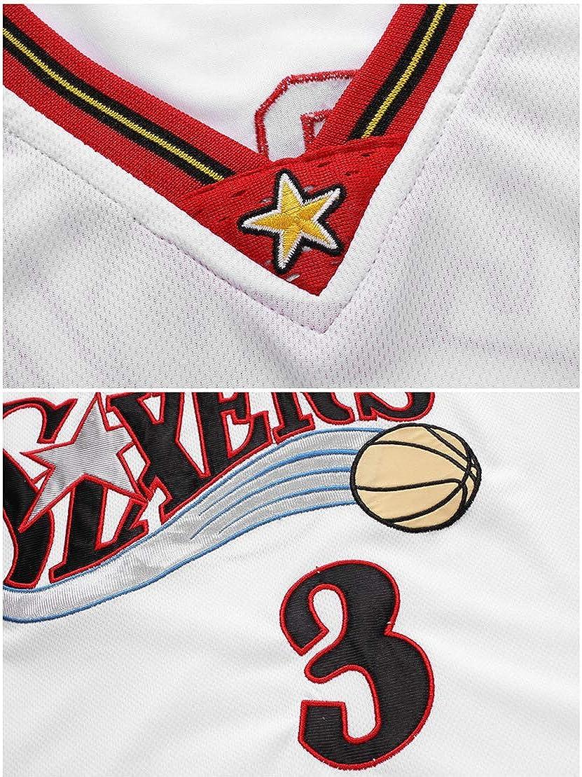 YLHLZZ Jungen Fans Bestickt Basketballtrikot f/ür Allen Iverson f/ür Philadelphia 76ers Nr 3 Basketballanzug Anzug