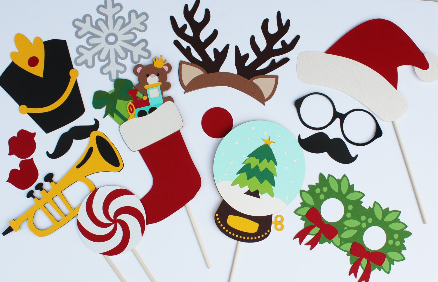 Christmas Photo Booth Props - 15 pc set by Paper & Pancakes by Paper & Pancakes