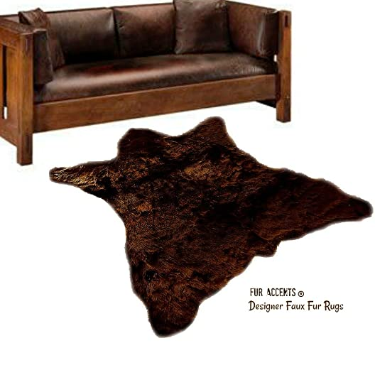 Bear Skin Area Rug – Thick Dark Brown New Bear Design, Natural Bear Hide -Soft Faux Fur Pelt – Ultra Suede Back – Fur Accents Original 5 x8