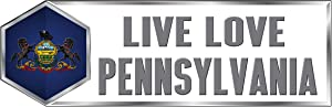 Makoroni Live Love Pennsylvania State - CAR Magnet - Magnetic Bumper Sticker 3x9 or 4x12 inc.