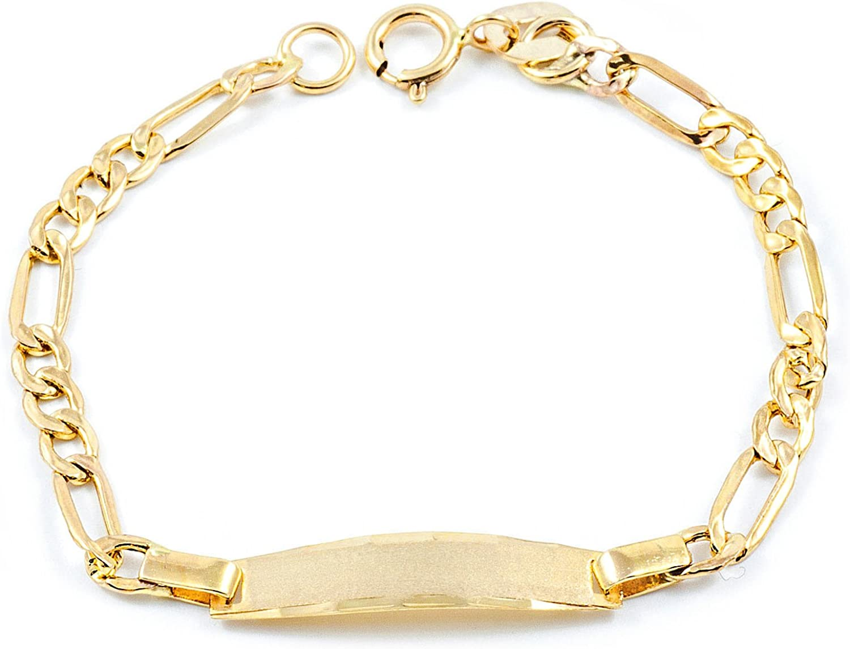 Esclava Bebe Oro Amarillo 3x1 eslabón Plano (9kts)