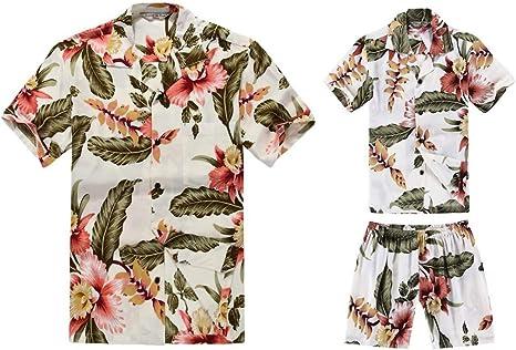 Padre e Hijo a Juego Traje Hawaiano de Luau Camisa de Hombre Camisa de niño Crema Rafelsia: Amazon.es: Ropa y accesorios