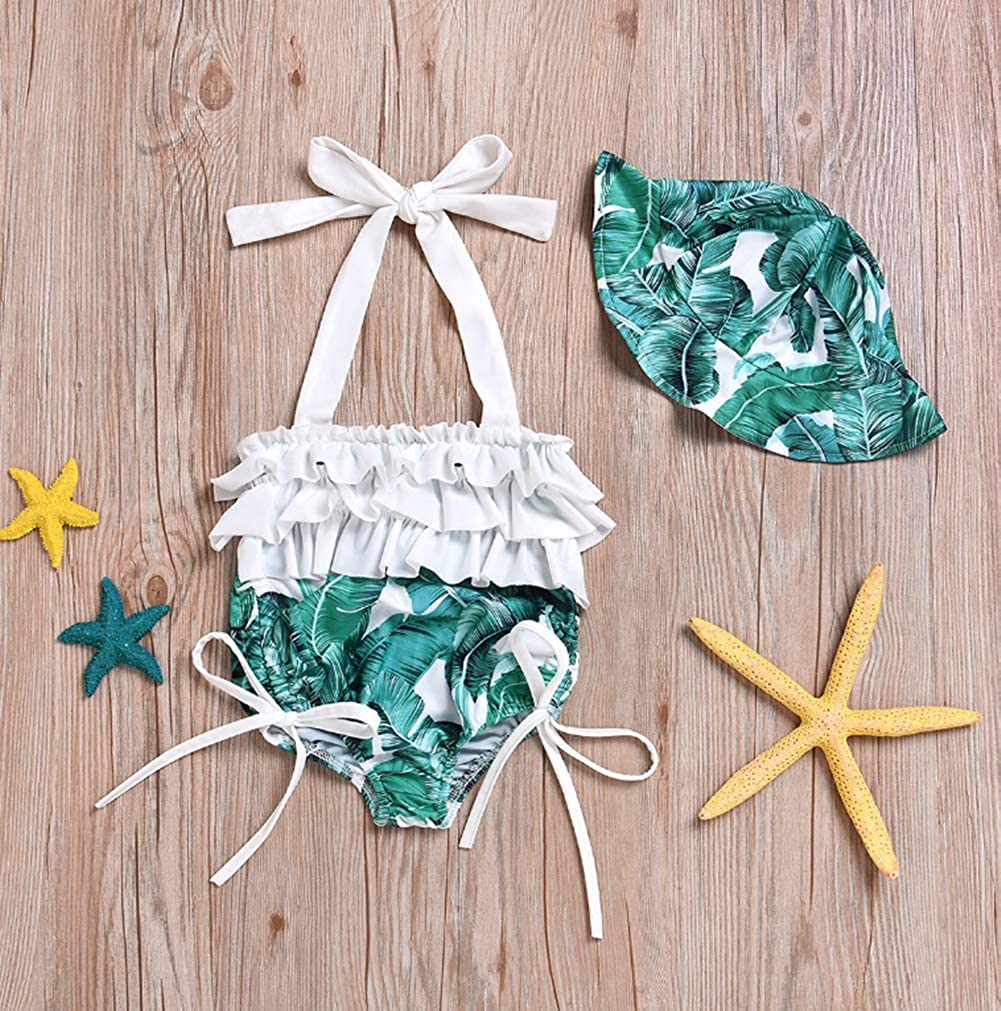 Baby Girls One-Piece Ruffles Backless Swimsuit Leaf Print Halter Bikini Swimwear Set with Sun Hat