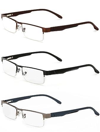 VEVESMUNDO® Lesebrillen Herren Damen Metall Klassische Federscharnier Vollrandbrille Lesehilfe Augenoptik Brille Schwarz Braun Grau 1.0 1.5 2.0 2.5 3.0 3.5 4.0 (3 Farben Set(Schwarz+Braun+Grau), 3.5)