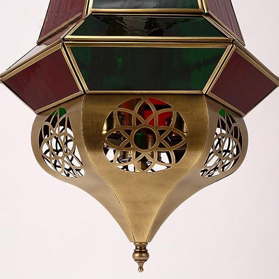 Longwei araña de Estilo árabe Manual Pasillo de la Soldadura Café del Restaurante Lámpara de Vidrio Cuerpo de luz cálida Retro Cristal Rojo Cristal Verde: ...