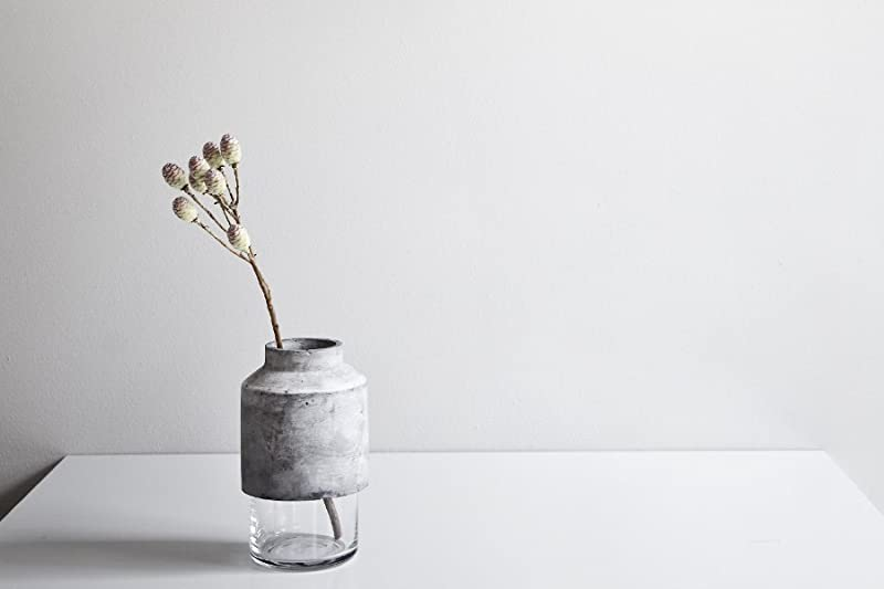 Willmann Glass and Concrete Minimalist Vase by Menu