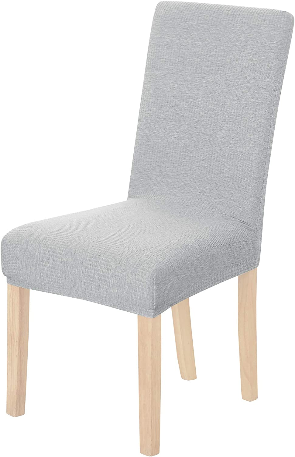 Deconovo Chair Cover Wavy Line Knitted Elastic Chair Slipcover for Dining Room Light Grey Set of 6