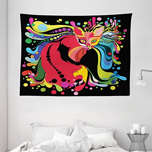 Ambesonne Psychedelic Tapestry, Futuristic Kitty Visual Print Fluid Swirling Color Burst Motifs Kitty Graphic, Wide Wall Hanging for Bedroom Living Room Dorm, 80 X 60 , Red Blue