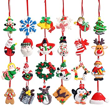 unomor christmas countdown advent calendar 24 pieces christmas ornaments decorations - Amazon Christmas Tree Decorations
