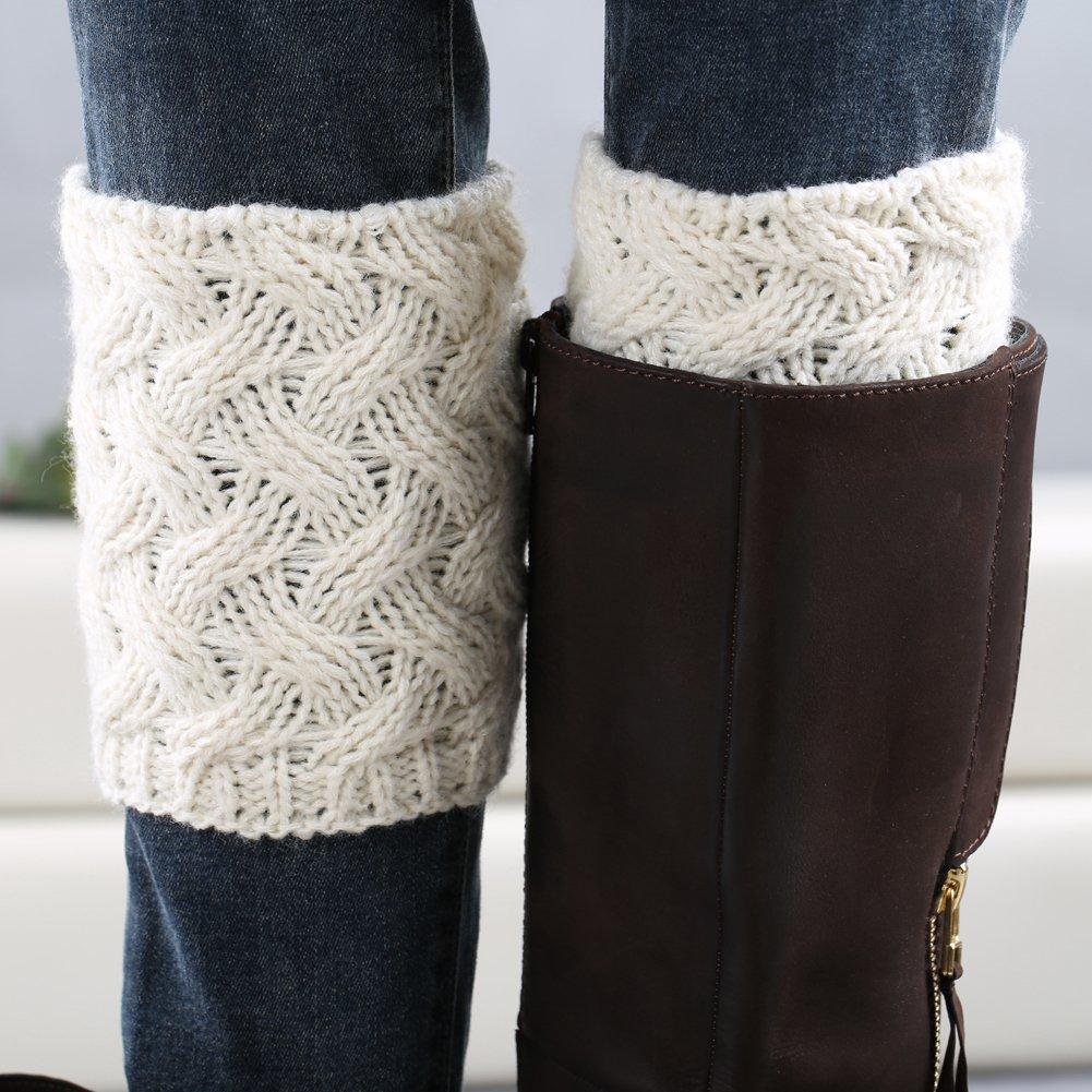 1378d2e9d FAYBOX Short Women Crochet Boot Cuffs Winter Cable Knit Leg Warmers   Leg  Warmers   Clothing