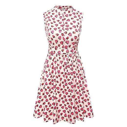 a38f1c1c5e yangelo Women s Strawberry Prints Vintage Dress A-line Cute Swing Party  Dresses at Amazon Women s Clothing store