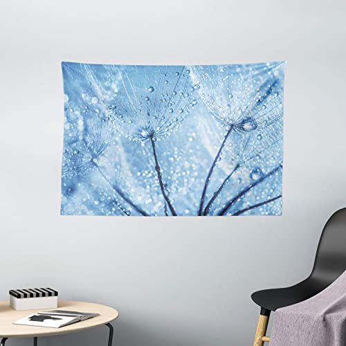 Ambesonne Fresh Tapestry, Abstract Dandelion Flower Seeds with Water Drops Purity Macro Bubbles Rain Design, Wide Wall Hanging for Bedroom Living Room Dorm, 60 X 40 , Pale Blue