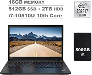 "2020 Lenovo ThinkPad E15 15.6"" FHD Full HD (1920x1080) IPS Business Laptop (Intel Quad Core i7-10510U, 16GB DDR4 RAM, 512GB PCIe SSD + 2TB HDD) Fingerprint, Type-C, HDMI, Windows 10 Pro + IST 500GB"