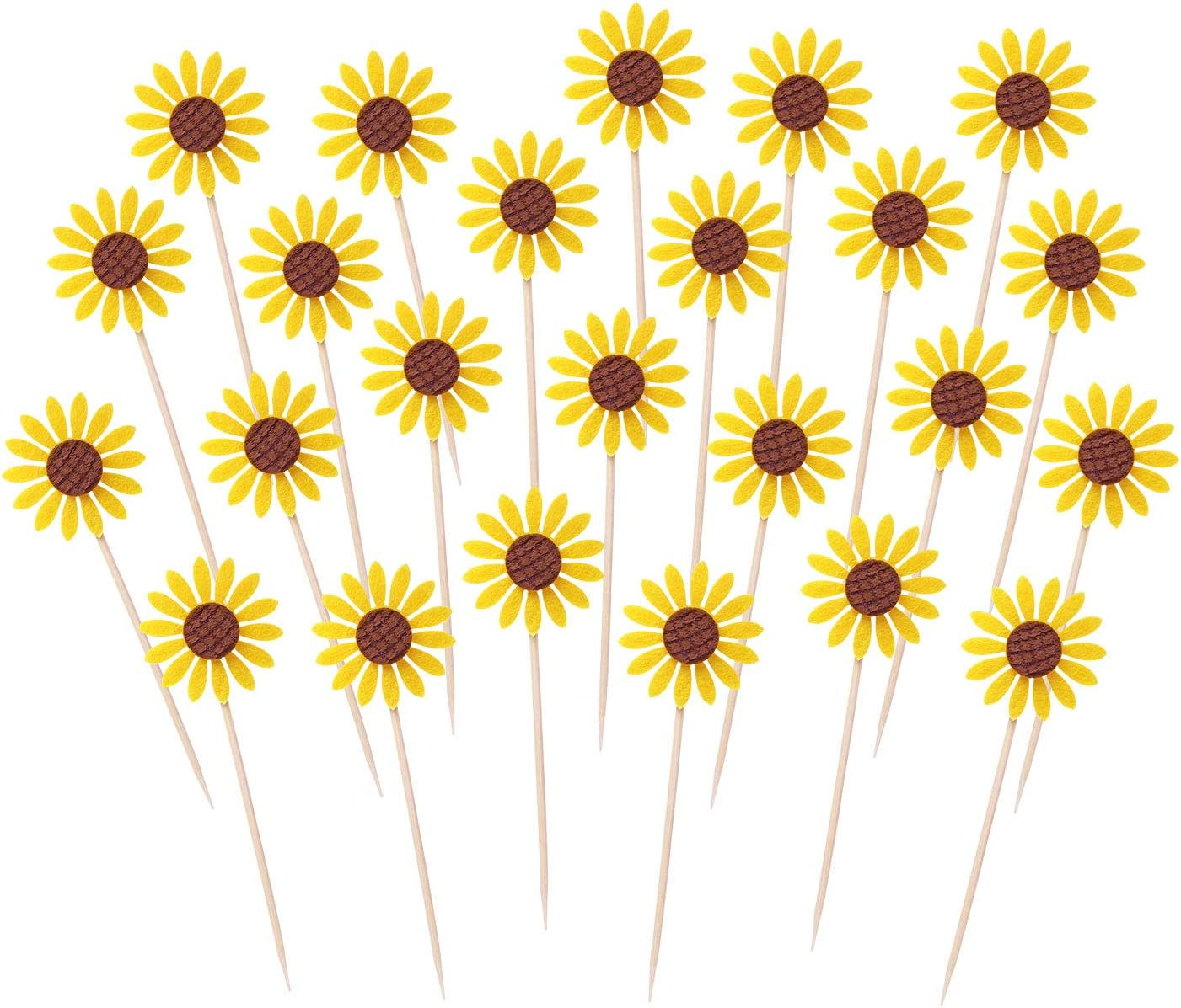 Penta Angel 24Pcs Sunflower Cupcake Toppers Cute Yellow Flower Toothpicks Cake Food Fruit Picks for Summer Baby Shower Wedding Birthday Party Decoration