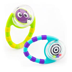 Sassy Flip & Grip Rattle|Value 2 Pack|Developmental Toy with Rattle Beads|Spinning Discs with Mirror|For Ages 3 Months and Up