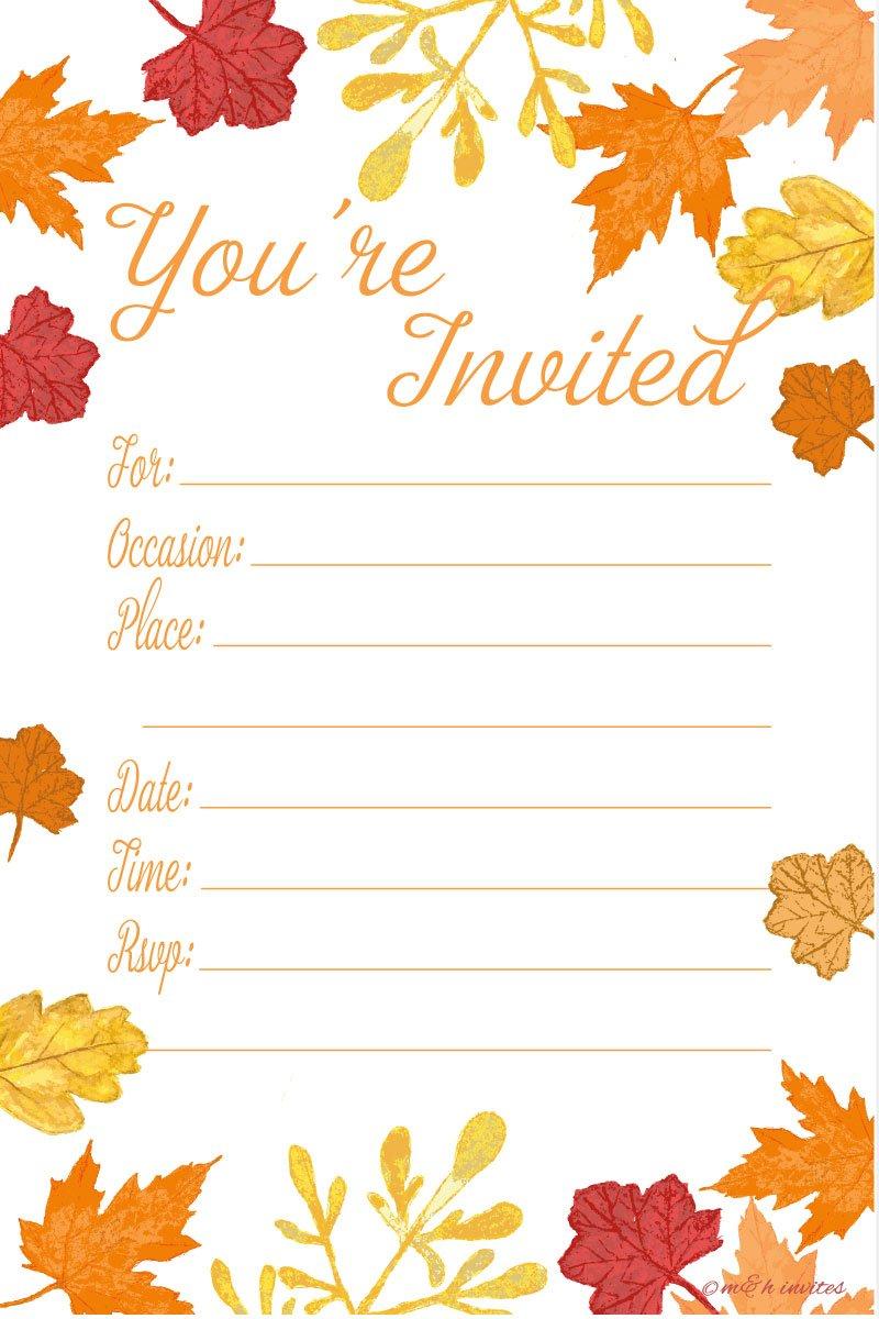 Amazon.com: Fall Theme Fill In Invitations - Wedding, Bridal Shower ...