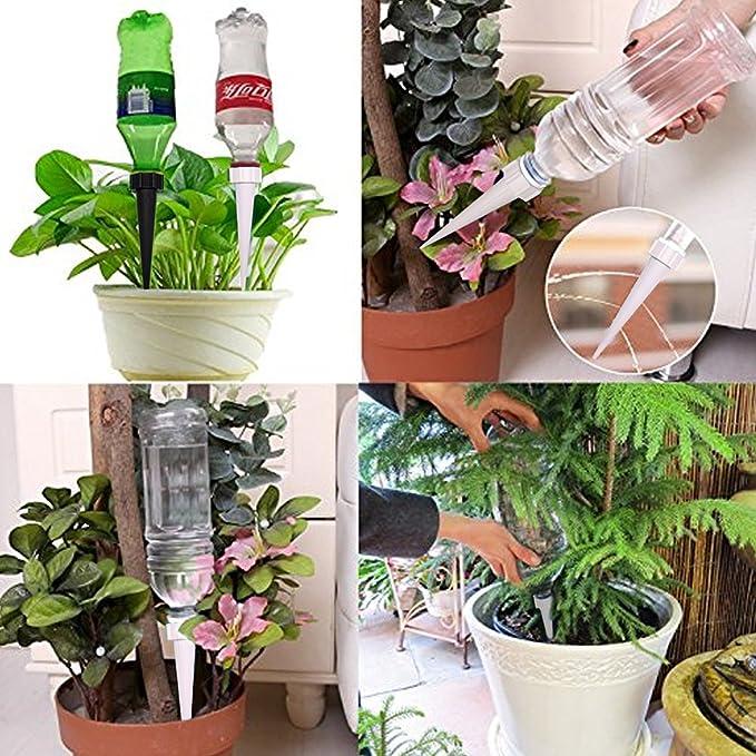 DCZTELG Sistema de riego automático para plantas de riego, para cuidado de tu flor, viaje, olvidando las plantas en macetas, color blanco y negro, ...
