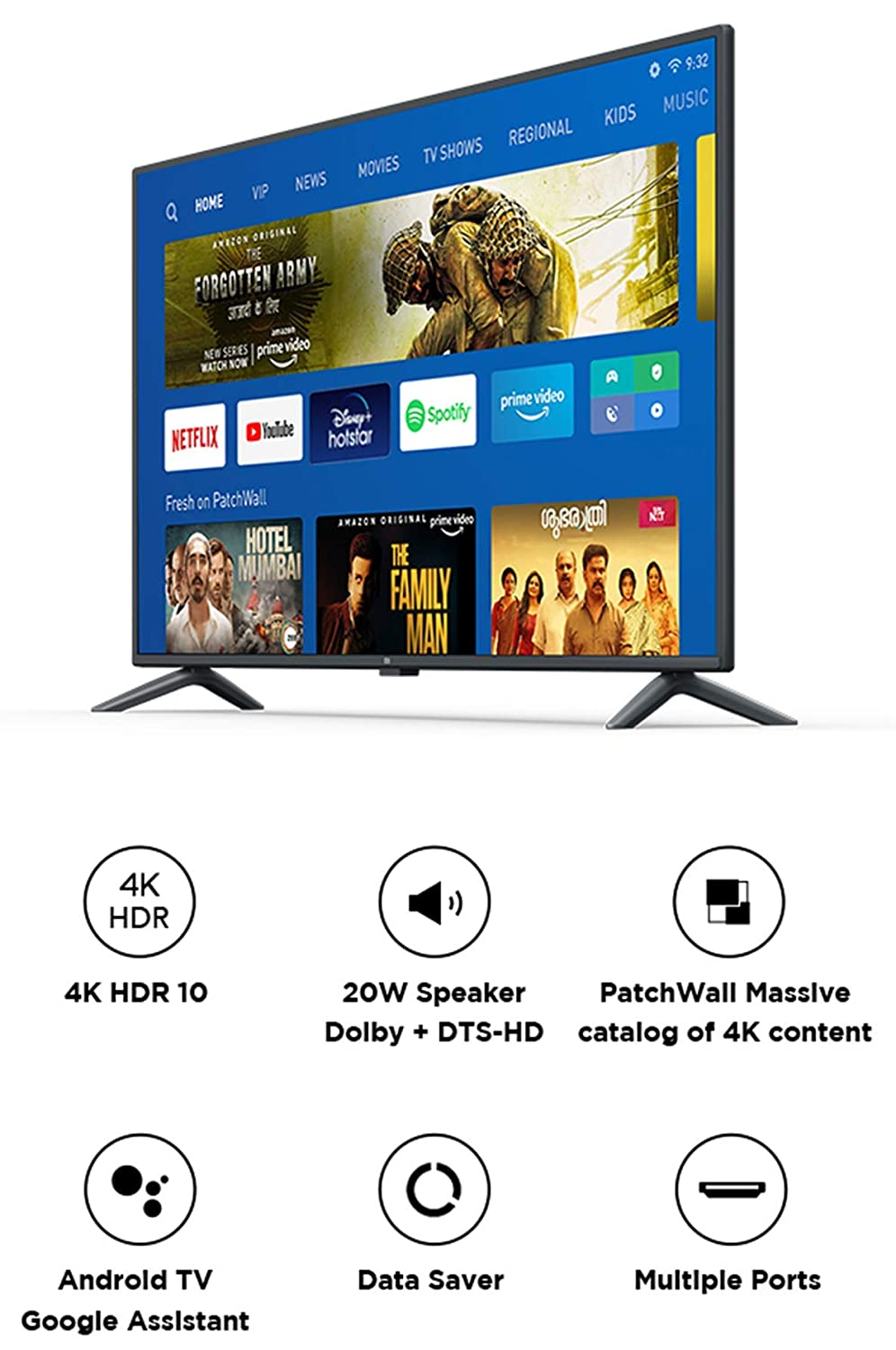 4K Ultra HD Android LED TV Mi TV 4X 125.7 cm – 50 Inches (Black)
