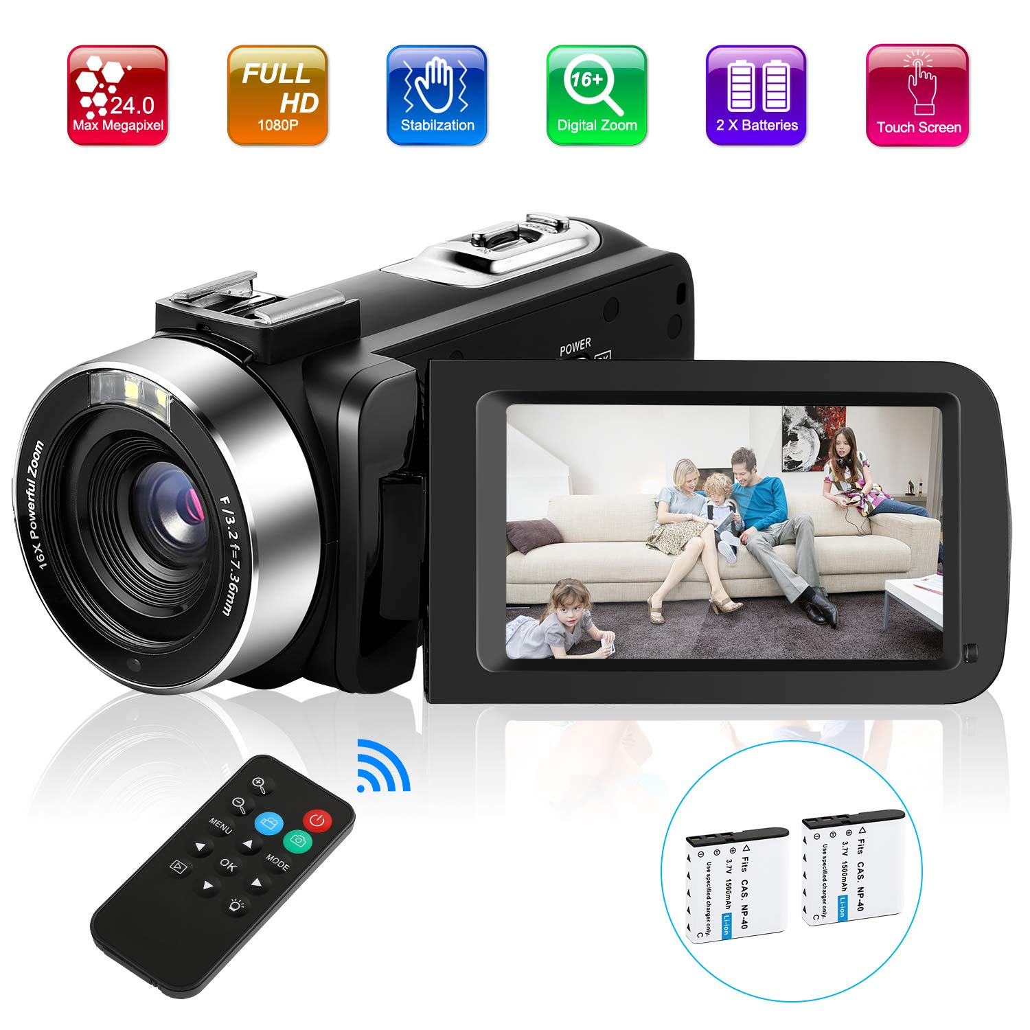 Video Camera Camcorder, UPSTONE Digital Vlog Camera for YouTube Full HD 1080P Camcorder 30FPS 24.0MP 16X Digital Zoom with 2 Batteries and Remote Control by RICH