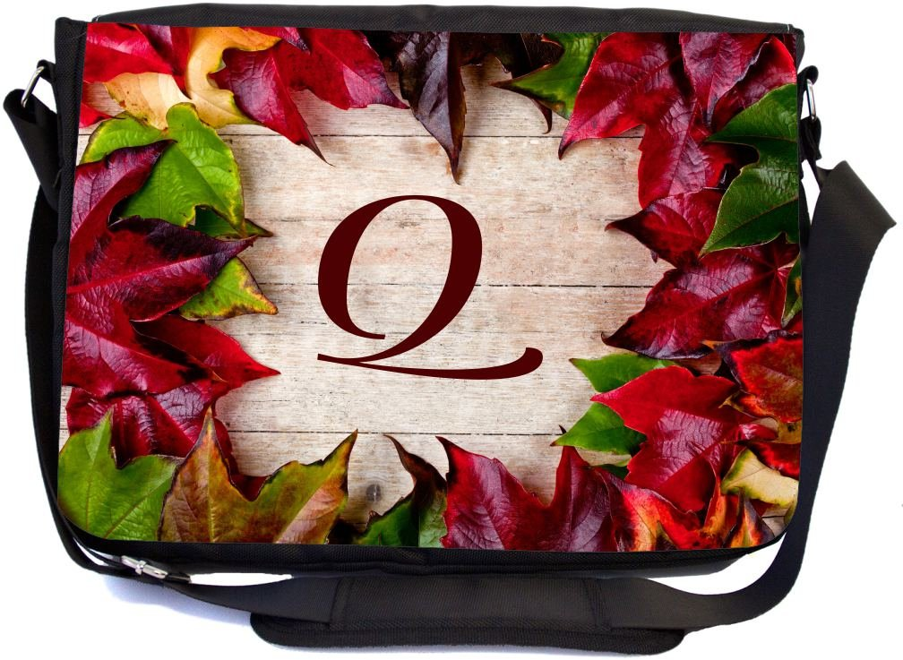 Rikki Knight Letter Q Initial Rustic Fall Leaves on Wood Design Messenger School Bag mbcp-cond44364